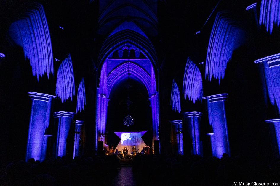 Southwark Cathedral interior in blue light