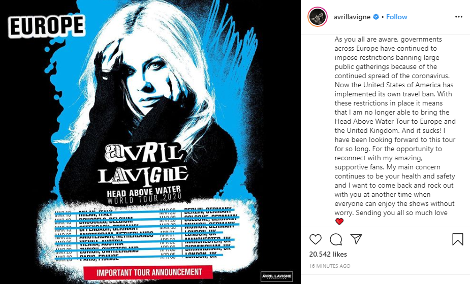 Avril Lavigne's tour cancellation announcement